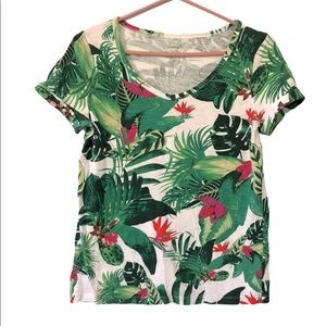 Lord & Taylor Tropical Floral V-Neck T-Shirt, SP